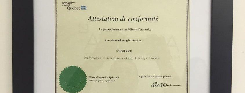 Amauta marketing est fier d avoir re u le certificat de - Office quebecois de la langue francaise ...